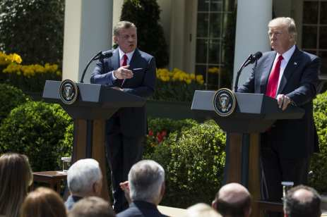 King Abdullah II bin al-Hussein of Jordan speaks during a joint press conference with U.S. President Donald Trump in the Rose Garden of the White House in Washington, USA on April 5, 2017. ( Samuel Corum - Anadolu Agency )