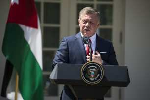 King Abdullah II bin al-Hussein of Jordan speaks during a joint press conference with U.S. President Donald Trump (not seen) in the Rose Garden of the White House in Washington, USA on April 5, 2017. ( Samuel Corum - Anadolu Agency )