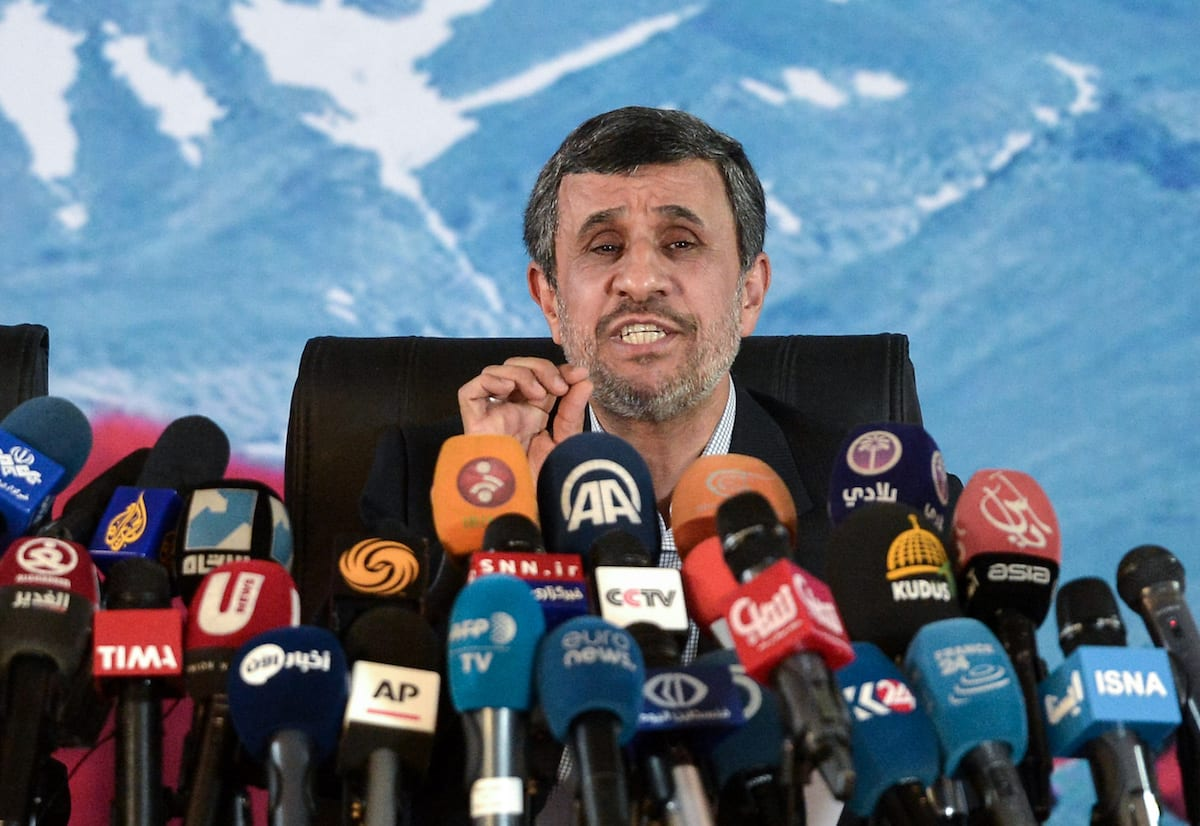 Former President of Iran Mahmoud Ahmedinejad speaks during a press conference with Former Iranian Vice President Hamid Baghaei in Tehran Iran