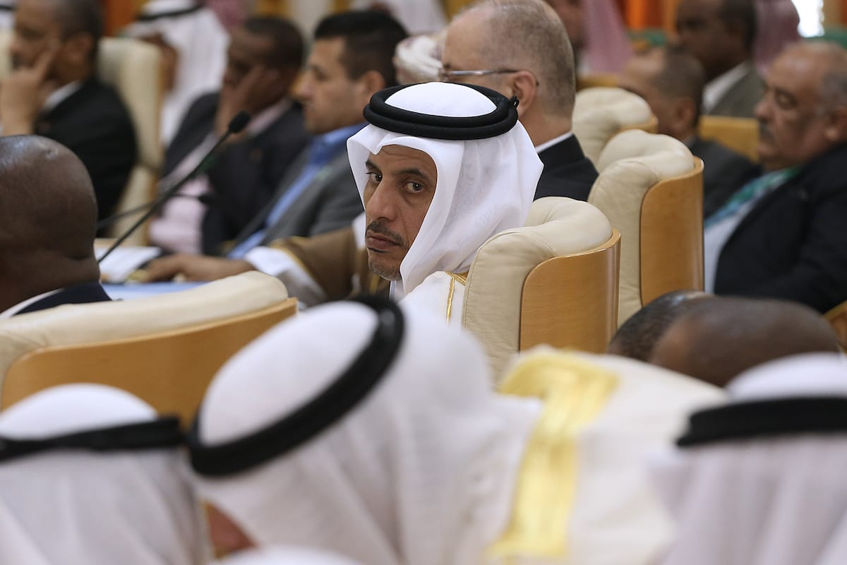 Qatar Prime Minister Sheikh Abdullah bin Nasser bin Khalifa Al Thani (C) is seen during 34th meeting of Arab Interior Ministers Council in Tunis, Tunisia on 5 April, 2017 [Yassine Gaidi/Anadolu Agency]