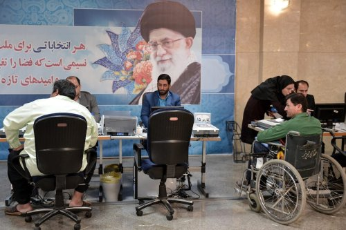 Prospective candidates register to run in the May 19 presidential race at Interior Ministry after Iran has opened the registration in Tehran, Iran on April 11, 2017 (Fatemeh Bahrami - Anadolu Agency )