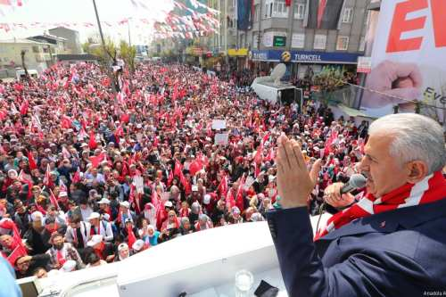 """Turkey's Prime Minister and Binali Yildirim greets the crowd during the """"yes"""" campaign, prior to the constitutional referendum in Istanbul, Turkey on 15 April, 2017. (Hakan Göktepe - Anadolu Agency)"""