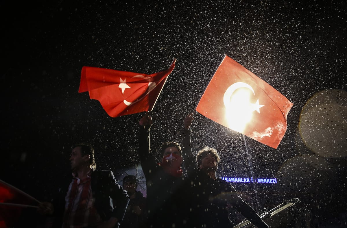 "'Yes' supporters celebrate their victory at July 15th Kızılay National Will Square following the unofficial preliminary results of Turkey's constitutional referendum show ""Yes"" votes in Ankara, Turkey on April 16, 2017. (Murat Kula - Anadolu Agency)"
