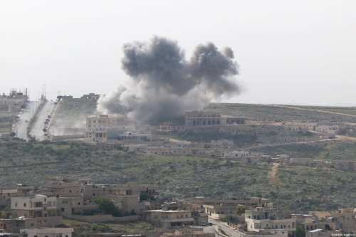 Smoke rises after the war crafts belong to Assad Regime forces carried out airstrikes on the Darat Izza district of Aleppo, Syria on 22 April, 2017 [Mahmud Faisal/Anadolu Agency]