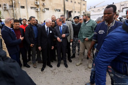 Head of United Nations Support Mission in Libya, Martin Kobler and Director General of the International Organization for Migration (IOM), William Lacy Swing visit the migrant shelter center in Tripoli, Libya on March 22, 2017 [Hazem Turkia - Anadolu Agency]