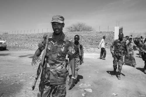 Somalian troops patrol through the streets of Baidoa, Somalia [Ty Faruki]