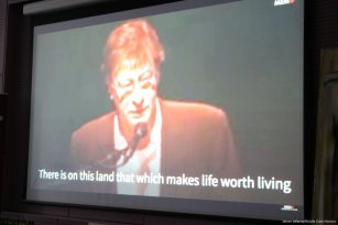 A short documentary of the Palestinian poet and political activist Mahmoud Darwish was shown at the event on 10 April 2017 [Jehan Alfarra/Middle East Monitor]