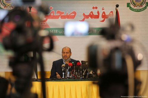 Image of Dr Khalil al-Hayyah during his news conference on 18 April 2017 [Mohammed Asad/Middle East Monitor]