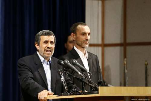 Former Iranian President Mahmoud Ahmadinejad (L) delivers a speech during a press conference in Tehran, Iran on April 12, 2017 [Fatemeh Bahrami/Anadolu Agency]
