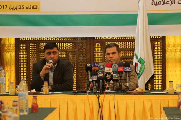 Image of Salah Bardawil (R) a senior Hamas member, delivering a press conference on 25 April 2017 [Mohammed Asad/Midde East Monitor]