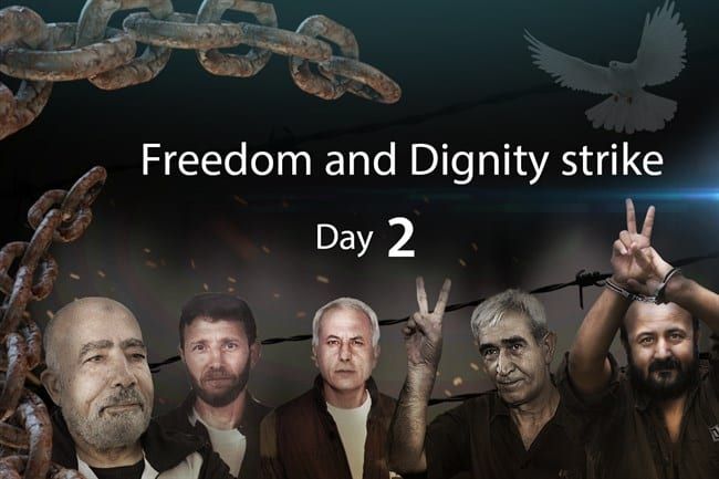 Palestinian prisoners' hunger strike, Day 2 [Ma'an]