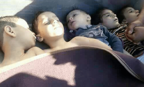 Image of Syrian children suffering from the chemical attack in Idlib, Syria on 4 April 2017