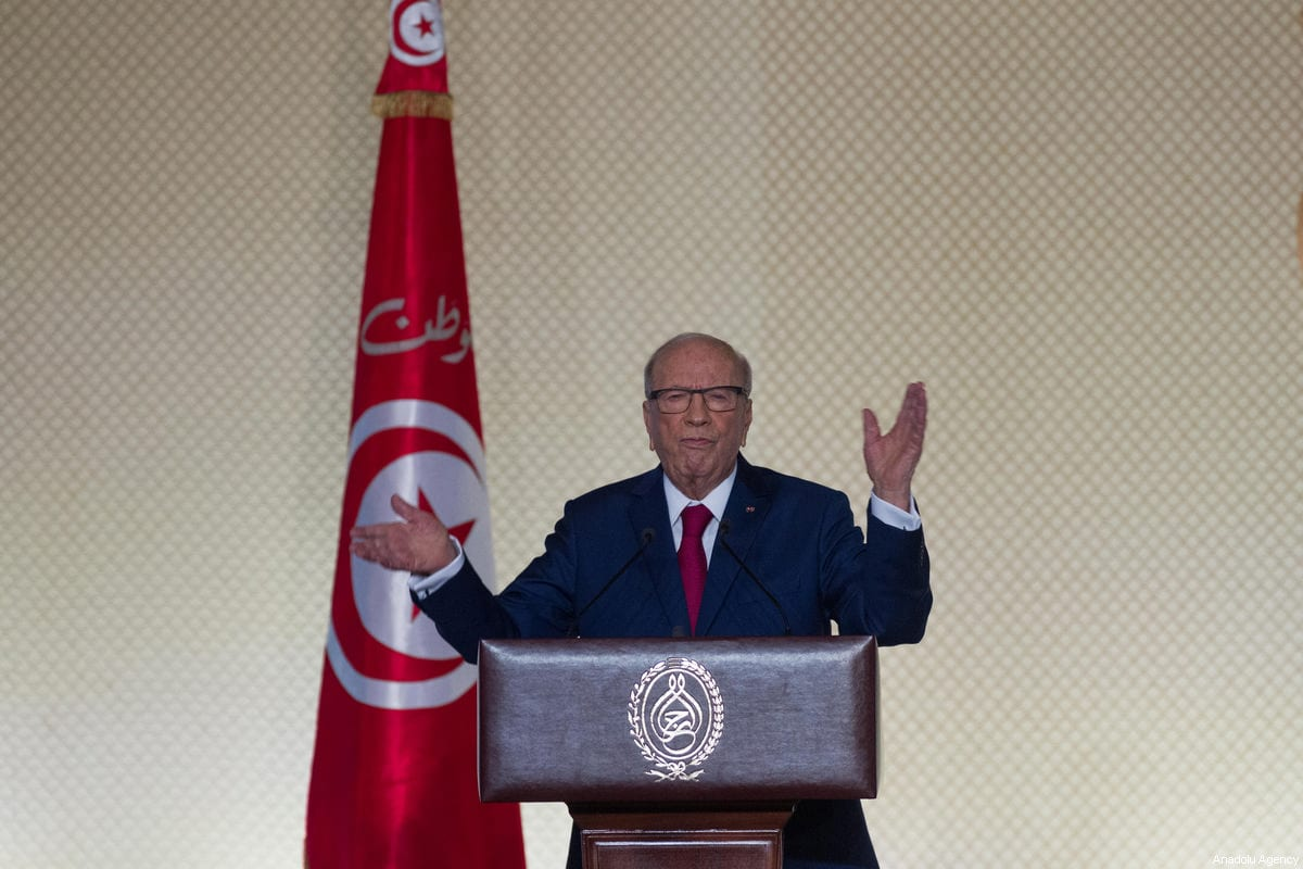 Tunisian President Beji Caid Essebsi holds a press conference at Conference Palace in Tunis, Tunisia on 10 May 2017 [Amine Landoulsi/Anadolu Agency]