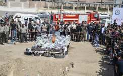 Security forces annihilate a huge amount of drugs that they seized during operations after the press conference of Head of Military Justice Commission, Nasser Suleiman in Gaza City on 11 May, 2017 [Mustafa Hassona/Anadolu Agency]