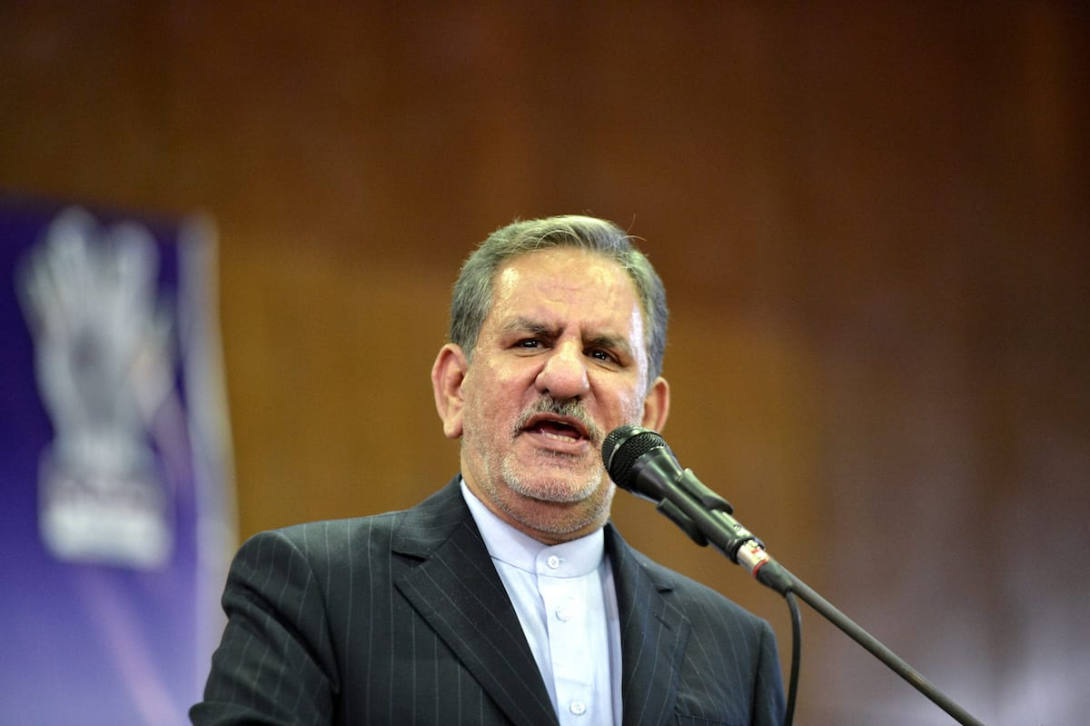 First Vice-President of Iran, Eshaq Jahangiri delivers a speech during the meeting held by supporters of Iranian Presidential candidate Hassan Rouhani, at Hijab Sport Complex in Tehran, Iran on 14 May, 2017 [Fatemeh Bahrami/Anadolu Agency]
