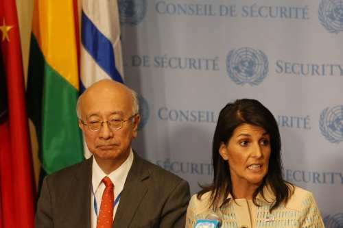US Ambassador to the UN Nikki Haley (R) AND Japanese Ambassador to UN Koro Bessho (L) in New York, US on 16 May 2017 [Mohammed Elshamy/Anadolu Agency]