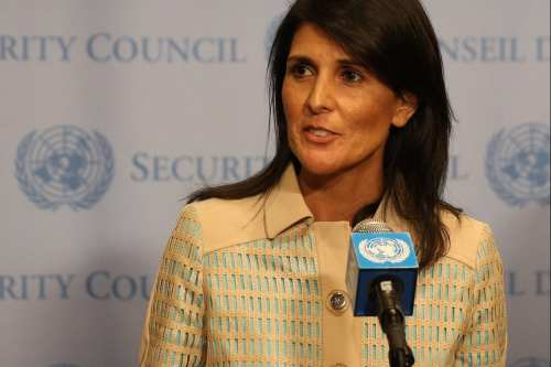 US Ambassador to the United Nations Nikki Haley (C) in New York, US on 16 May, 2017 [Mohammed Elshamy/Anadolu Agency]