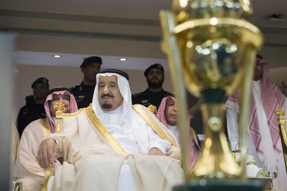 Saudi Arabia's King Salman bin Abdulaziz Al Saud attends a football match in Jeddah, Saudi Arabia on 18 May 2017 [Bandar Algaloud / Saudi Kingdom Council / Handout - Anadolu Agency]