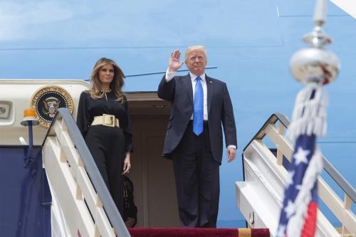 US President Donald Trump and his wife Melania Trump get off plane during their arrival at the King Khalid International Airport in Riyadh, Saudi Arabia on May 20, 2017 [Bandar Algaloud / Saudi Royal Council / Anadolu Agency]