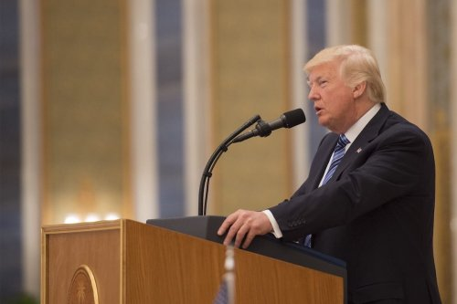 US President Donald Trump on 21 May 2017. [Bandar Algaloud/Saudi Kingdom Council]