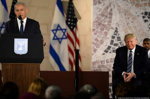 Prime Minister of Israel Benjamin Netanyahu (L) speaks during US President Donald Trump's (R) visit to Israel Museum in Jerusalem on 23 May 2017. [Israeli Government Press Office/Haim Zach/Handout]