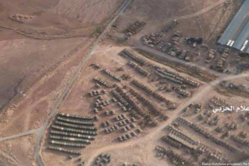 Some 400 American and Jordanian military vehicles were located at a Jordanian military base 43km from the Syrian border on May 10, 2017. The tanks are supposedly Jordanian M60 types [Elam Al-Harbi/Syrian government's War Information Centre]