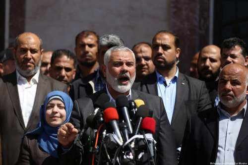 Head of Hamas Political Bureau Ismail Haniyeh at a press conference in Gaza on 11 May, 2017 [Mohammed Asad/Middle East Monitor]