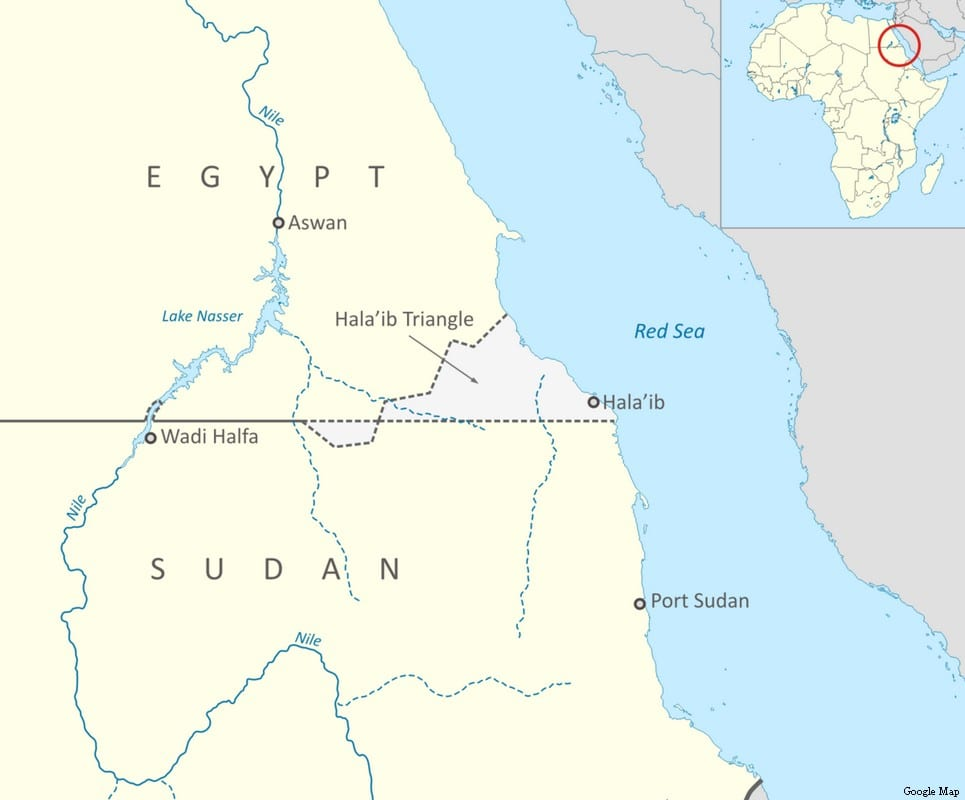 Map of Halayeb Triangle, a territory disputed by Egypt and Sudan [Google Map]