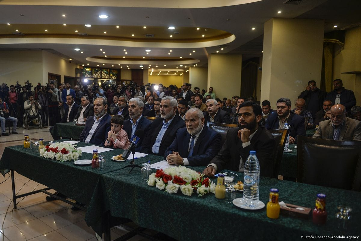 Leaders of Hamas in the Gaza Strip attend a meeting in which they express new vision and policies of Hamas in Doha, Qatar on 1 March, 2017 [Mustafa Hassona/Anadolu Agency]