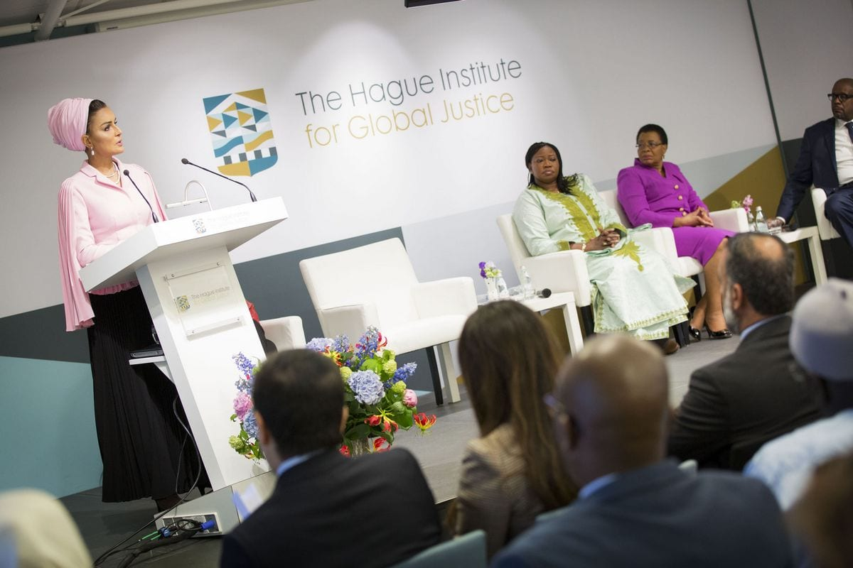 Image of Sheikh Mooza (L) at the Hague Institute for Global Justice on 18th May 2017