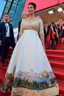 Culture and Sports Minister Miri Regev at the Cannes Film Festival, May 17, 2017 [Eli Sabati/Facebook