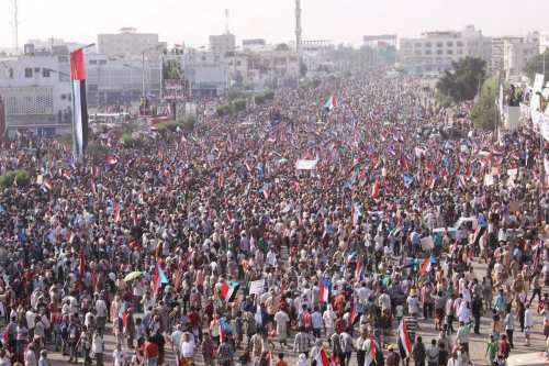 Image of a protest in Yemen demanding the secession of Southern Yemen from the North on 21 May 2017 [ANONINTEL‏/Twitter]