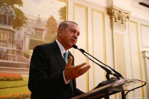 Turkish President Recep Tayyip Erdogan delivers a speech in Brussels, Belgium on May 24, 2017 [Kayhan Özer /Anadolu Agency]