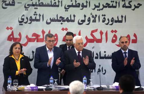 Palestinian President Mahmoud Abbas (2nd R) and Secretary of the Revolutionary Council of the Fatah movement, Majed Al Fityani (2nd L) attend a Revolutionary Council Meeting of Fatah Movement in Ramallah, West Bank on 25 May, 2017 [Issam Rimawi/Anadolu Agency]