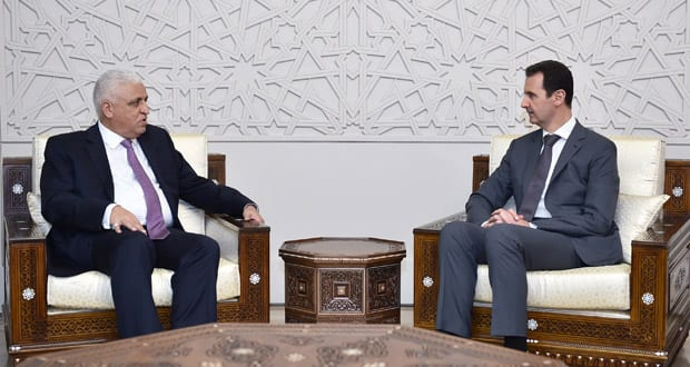 Syrian President, Bashar Al-Assad, received Iraqi National Security Adviser, Faleh Al-Fayad, in the Syrian capital Damascus on 18 May 2017. [Sana]