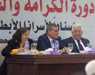 Palestinian President Mahmoud Abbas (R) and Secretary of the Revolutionary Council of the Fatah movement, Majed Al Fityani (C) attend the Revolutionary Council Meeting of Fatah Movement in Ramallah, West Bank on May 25, 2017 [Issam Rimawi/Anadolu Agency]