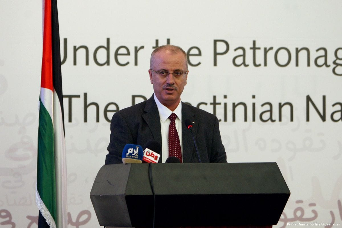 Palestinian Prime Minister Rami Hamdallah on 1 June 2015 [Prime Minister Office/Apaimages]