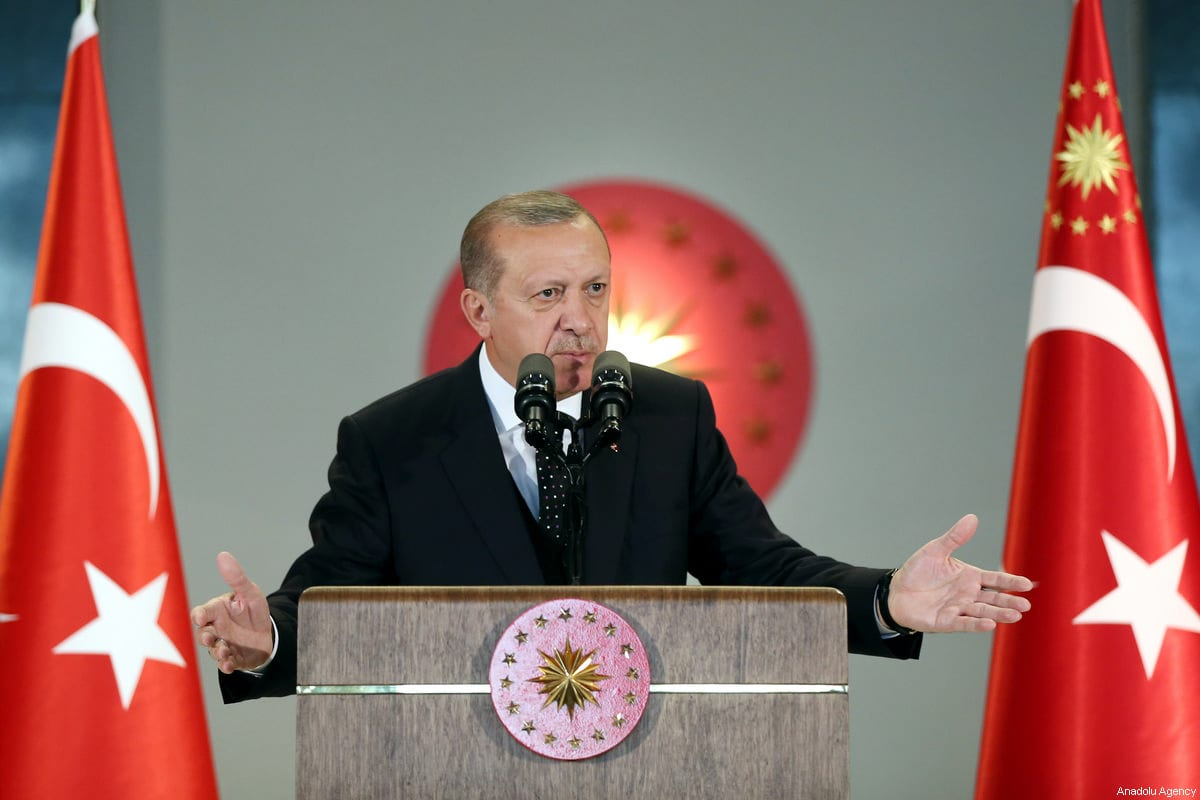 Image of President of Turkey Recep Tayyip Erdogan (C) in Ankara, Turkey on 1 June 2017 [Kayhan Özer/Anadolu Agency]