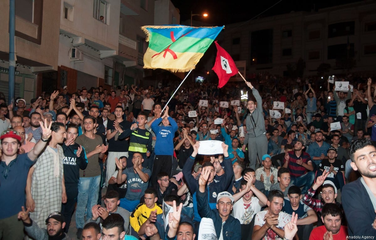Hundreds of people attend a demonstration in support of ongoing anti-government protests taking place in the northern Rif region on 2 June, 2017 in Al-Hoceima, Morocco [Jalal Morchidi/Anadolu Agency]