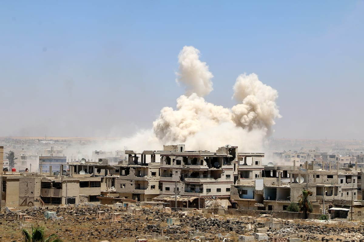 Smoke rises after attacks by the Assad regime took place in Daraa, Syria on 7 June, 2017 [Muhammed Yusuf/Anadolu Agency]