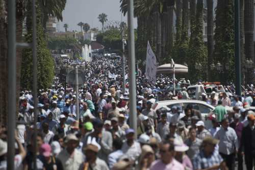 Protesters stage a demonstration in Rabat, Morocco [Stringer/Anadolu Agency]
