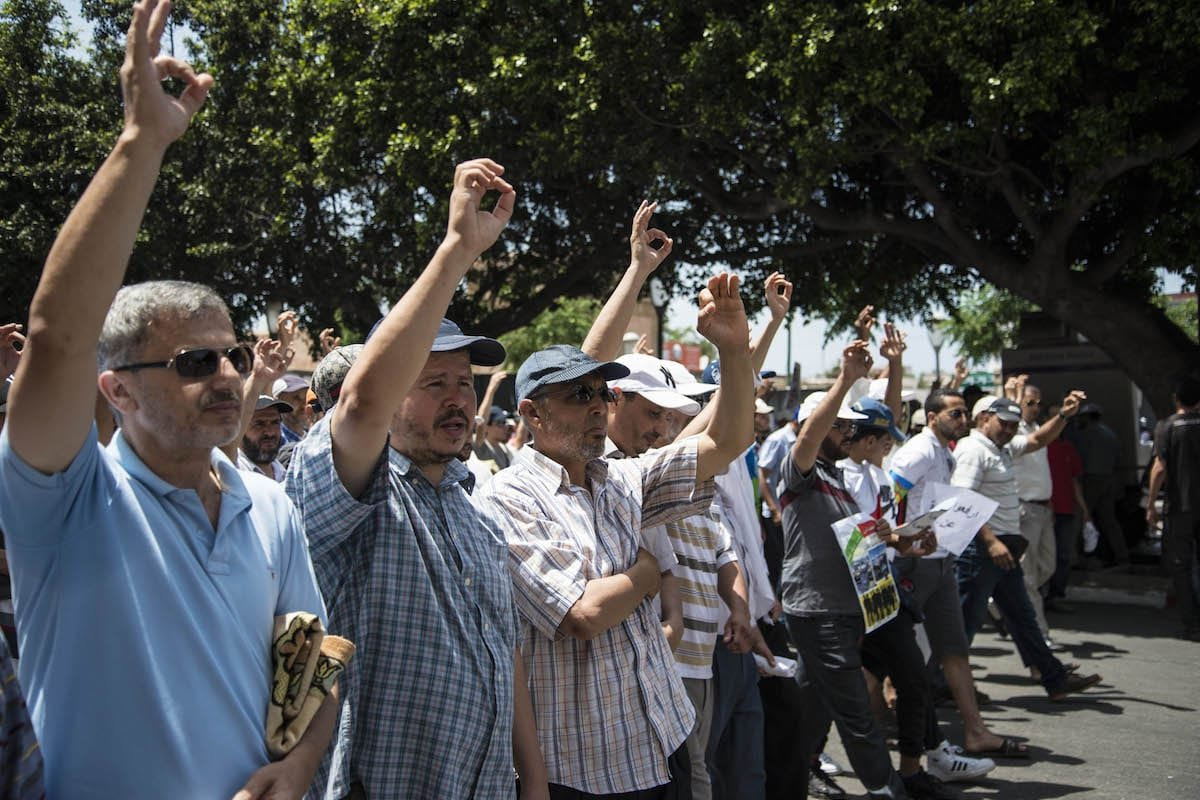 Protesters stage a demonstration in Morocco demanding jobs [Stringer/Anadolu Agency]