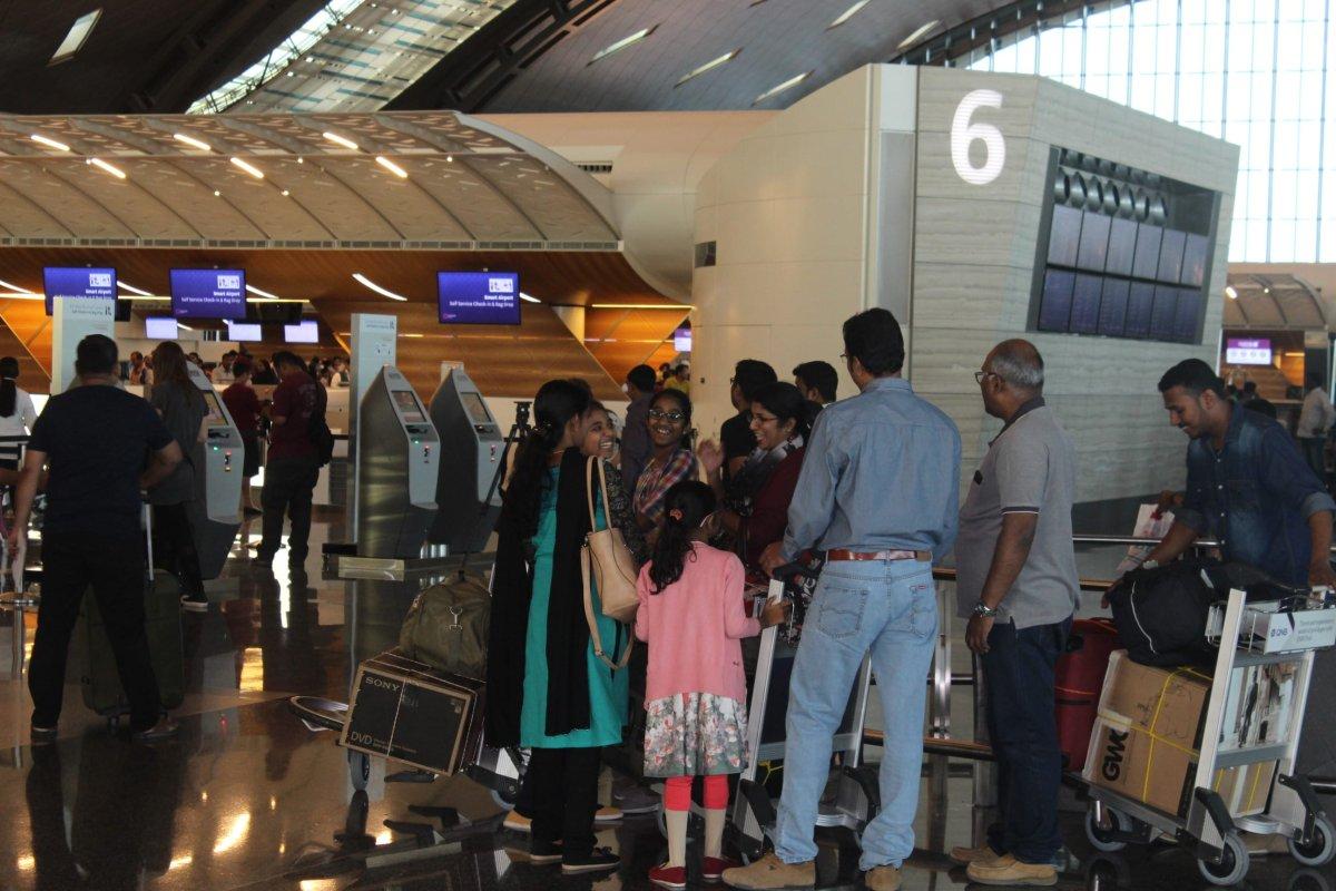 People wait ahead of their flights at Hamad International Airport in Doha, Qatar on June 12, 2017. [Ahmed Youssef Elsayed Abdelrehim - Anadolu Agency]