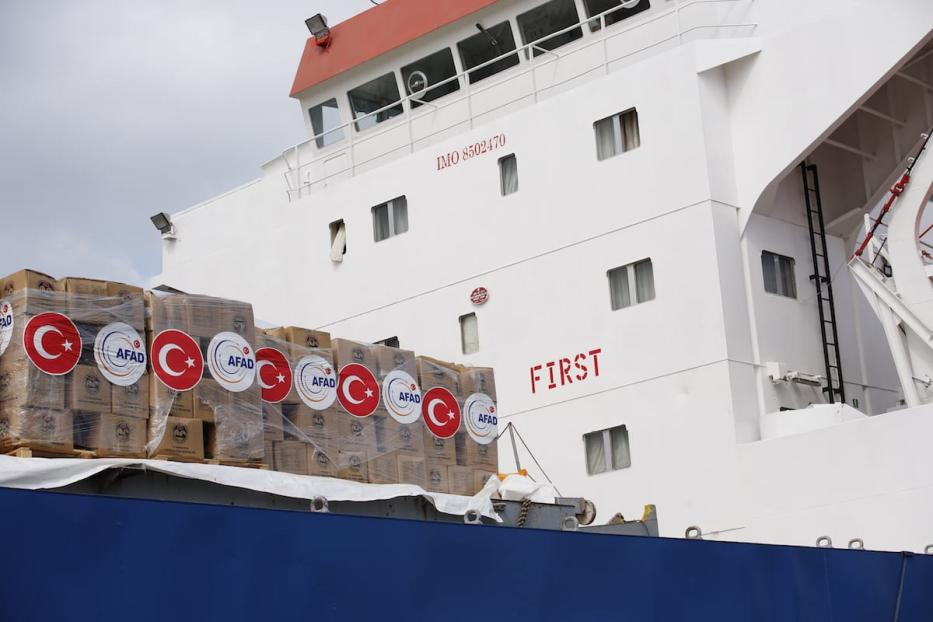 A Turkish ship carrying food aid and equipment for Gaza has arrived at Israel's port prior to entering the Gaza Strip on 21 June 2017 [Mostafa Alkharouf/Anadolu Agency]