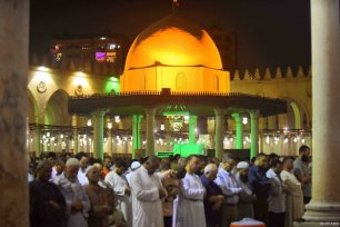 CAIRO, EGYPT- Egyptian worshipers take part in an evening prayer called Taraweeh at the Amr Ibn al-Aas mosque