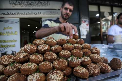 A mountain of Falafel, yum! in Gaza