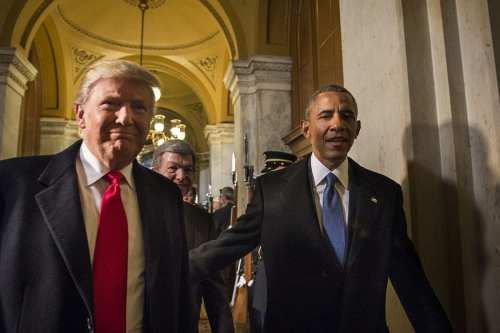 US President Donald Trump L) with former US President Barack Obama R) [US Air Force/ Wikimedia]