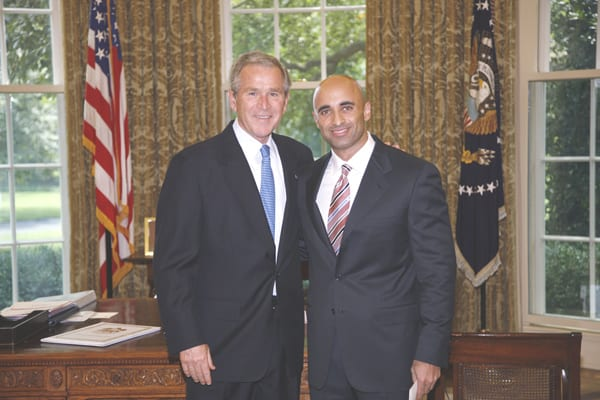 Former US President George W. Bush with UAE Ambassador Yousef Al-Otaiba on 28 July 2008 in the Oval Office at the White House. [US Department of State]