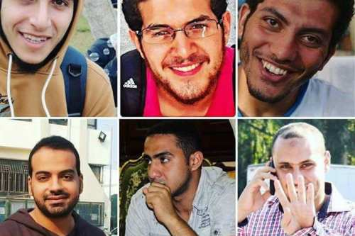 Image of the six Egyptian men sentenced to death