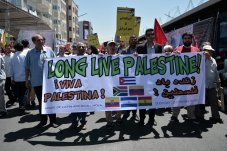 Iranians take to the streets to mark Al Quds day, an annual event which is marked globally and calls for the support of Palestinians against the apartheid state of Israel